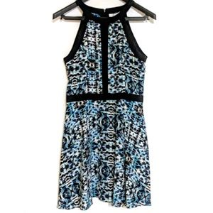 Parker Blue & Black Abstract Silk Nika Dress M